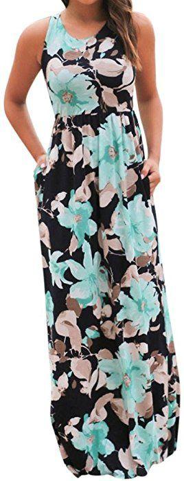🌸 Vestido Largo sin Mangas con Estampado Floral y Bolsillos para Mujer  Absolute (S 07185000b739d