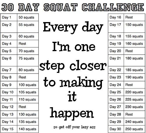 Squat Challenge Printable Chart
