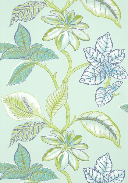 Island inspired leaves branch out in Lucala in a bountiful assortment of colors in rich #wallpaper, flowing printed #fabric, and one truly stunning #embroidery. Featured here in #aqua and #green from the Biscayne collection. #Thibaut