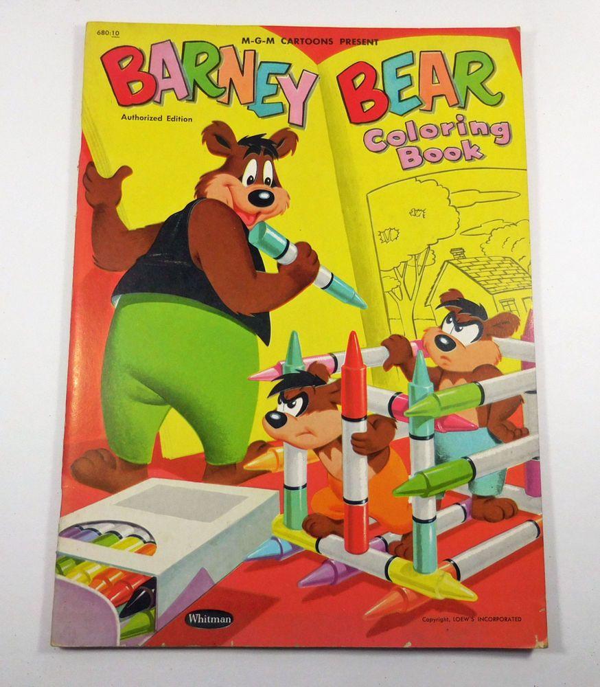 Cool Barney Coloring Book 71 MGM Cartoons Barney Bear