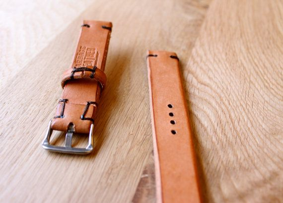 Leather Watch Strap Band Handmade 20mm by GARBAGELEATHER on Etsy