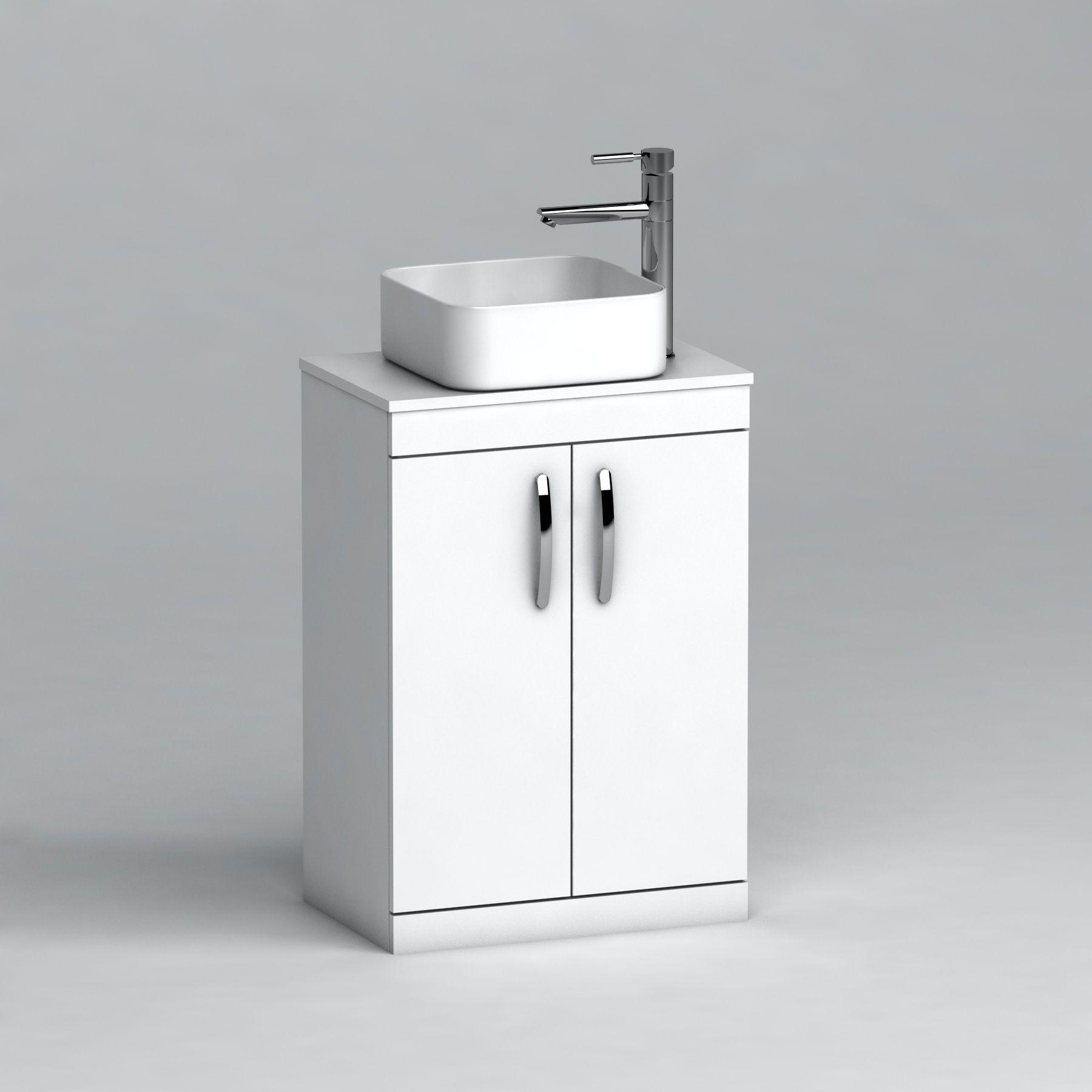 500mm Floor Standing Vanity Unit 2 Door Gloss White Countertop