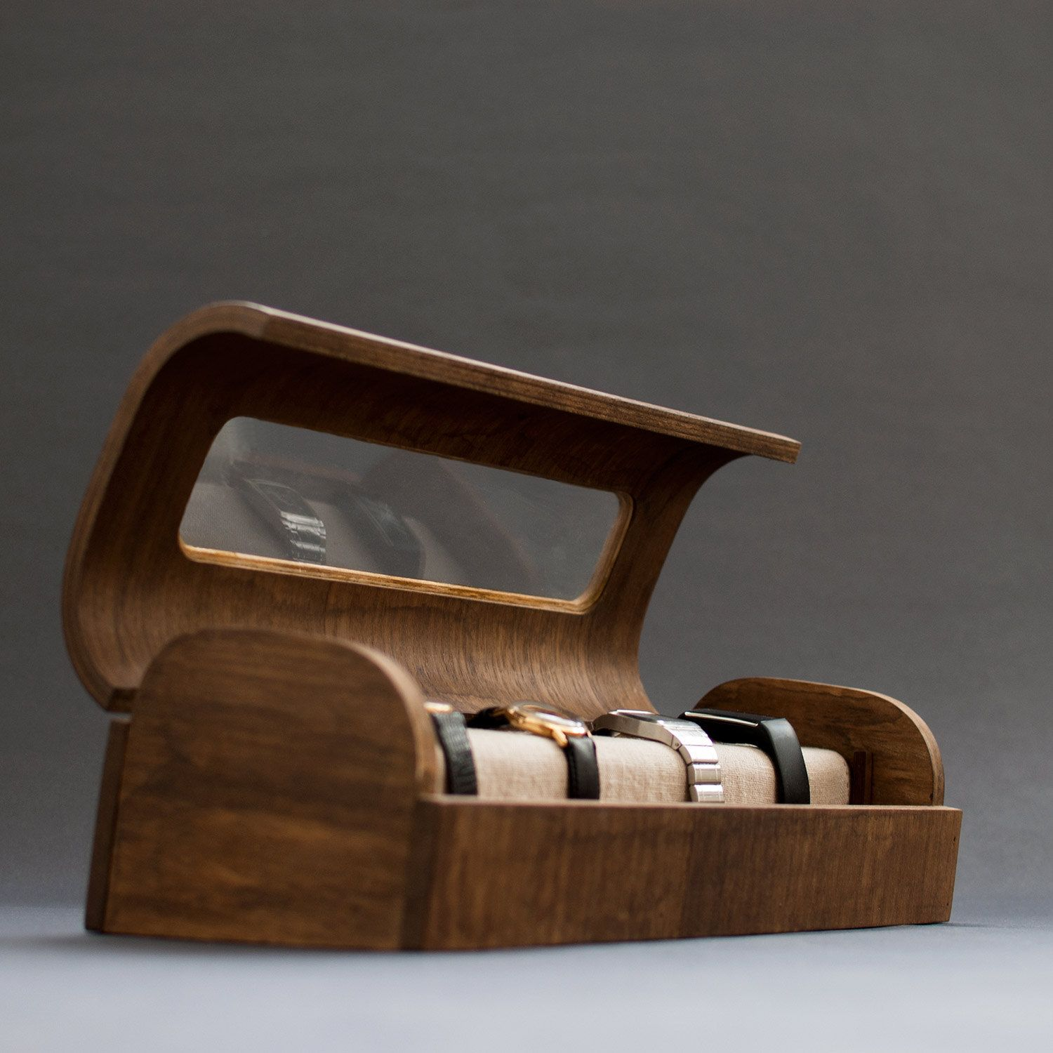 Modern wood watch organizer Exclusive watch box Vintage wood