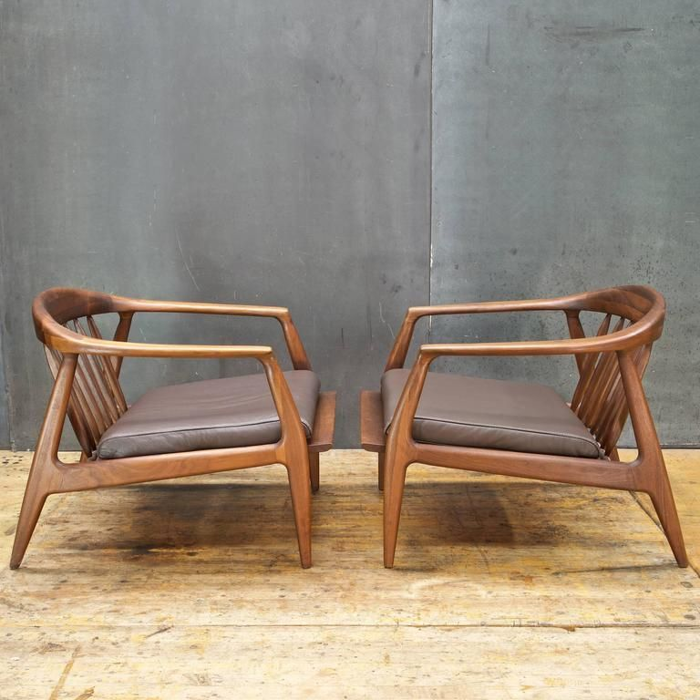 1960s Walnut and Leather Lounge Chairs is part of Leather lounge chair - View this item and discover similar  for sale at 1stdibs  1960s walnut and leather lounge chairs  Solid staved walnut frames, with brown leather seat pads  Chair W 28 x D 31 x Front Arm H 21 x Back H 24 in