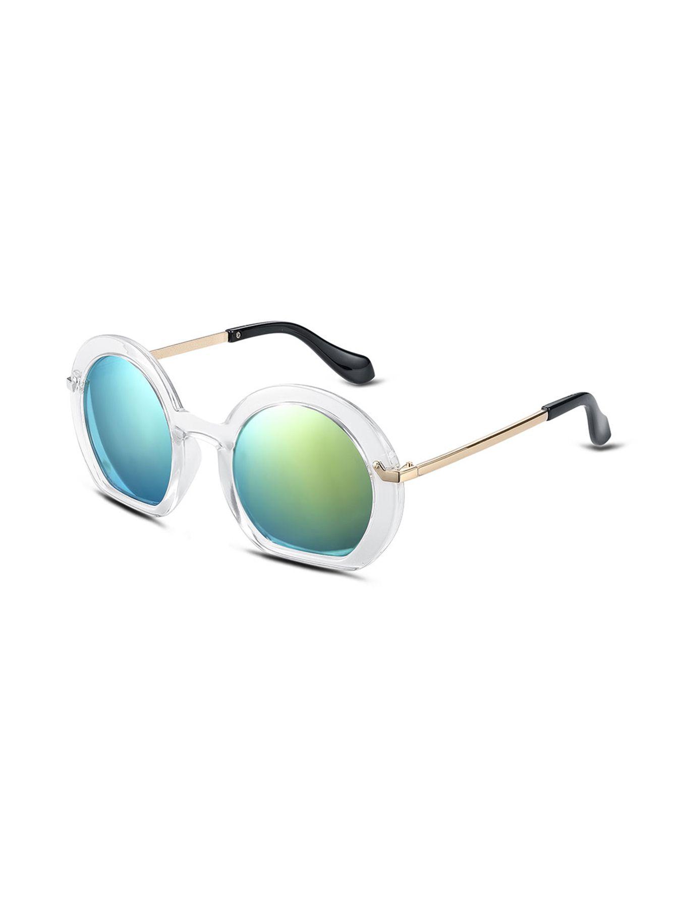 Gafas de sol marco blanco lentes grandes brazo dorado   Gafas