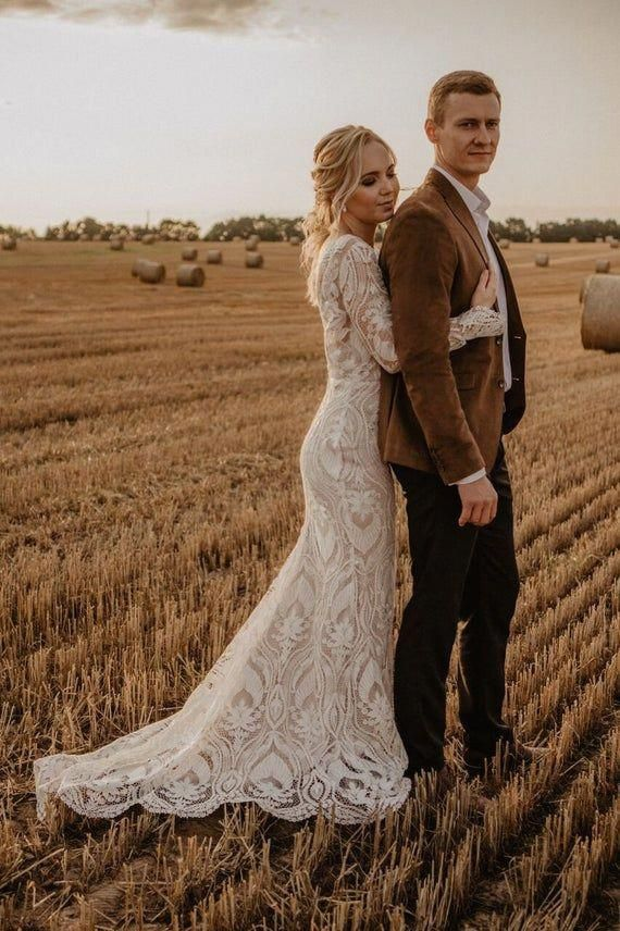 Open back boho wedding dress , long sleeve wedding dress ,boat neck bridal gown, new collection ,lace wedding dress , bohemian wedding dress