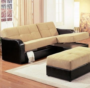 Kuser Contemporary Chaise Sofa Sleeper Sectional With Storage By Coaster Sofas