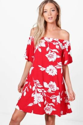 ceca10595ca cute red off the shoulder dress with a white floral print