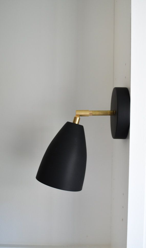 The August Solid Brass And Matte Black Metal Shade Wall Ceiling Tilting Sconce Light Lighting M Modern Brass Lighting Black Sconces Modern Bedroom Lighting