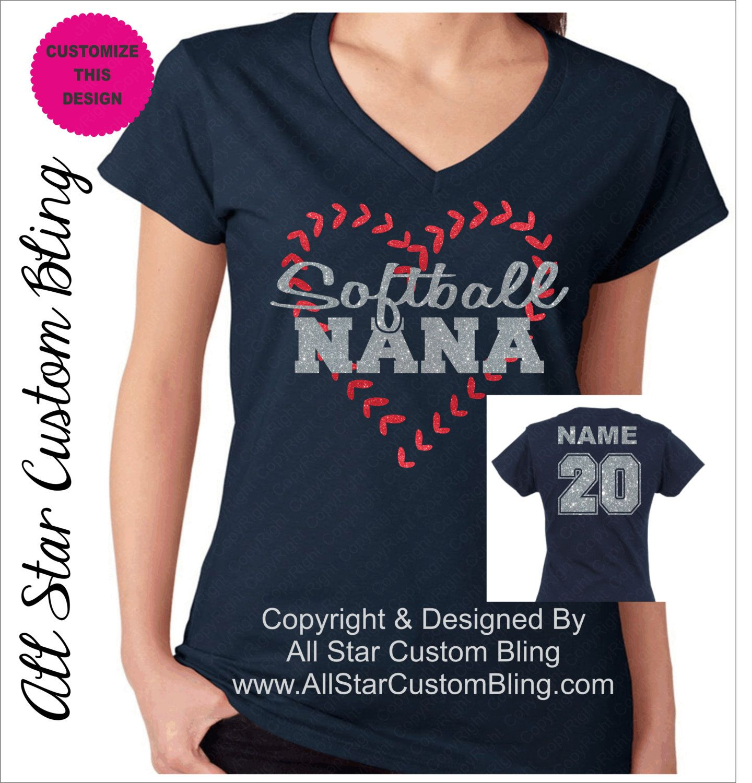 Custom Softball Nana Shirt, Softball Nana TShirt, Softball Nana Custom Shirt,  Glitter Softball