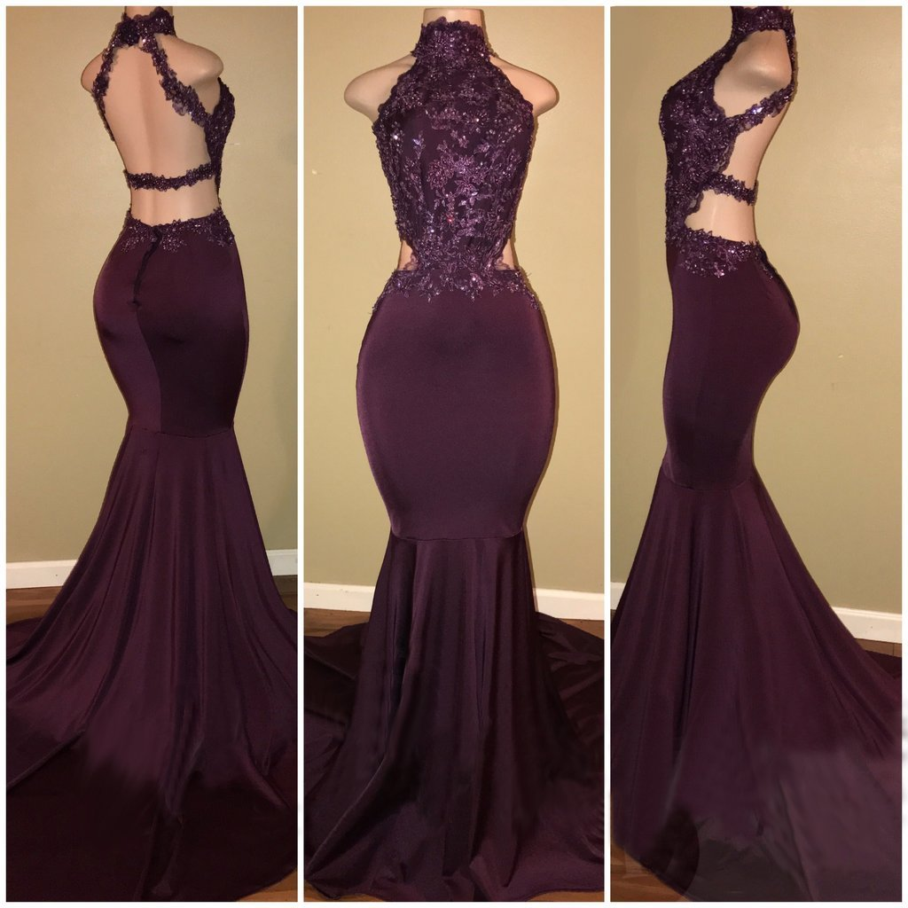 Long Prom Dresses Mermaid Sleeveless Open Back PROM