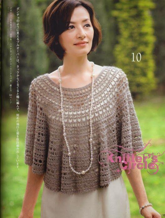 Maravilhas do Crochê: Poncho de Crochê_Modelo Japonês | Áo móc ...