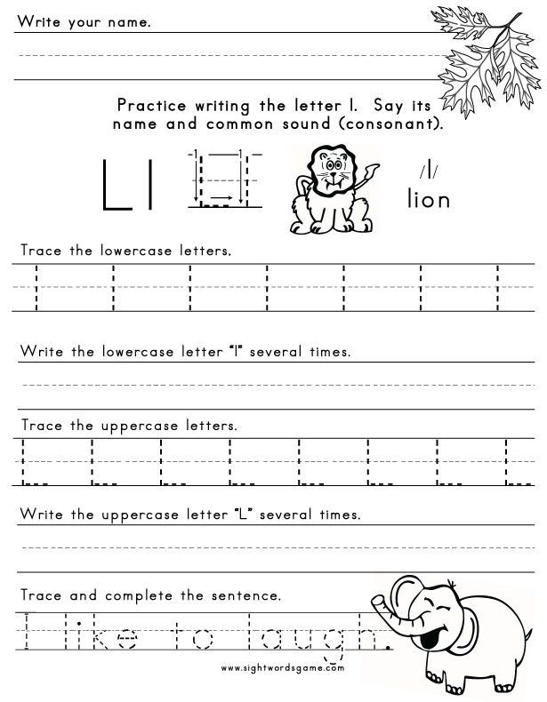 letter l worksheet 1 letters of the alphabet | School projects ...