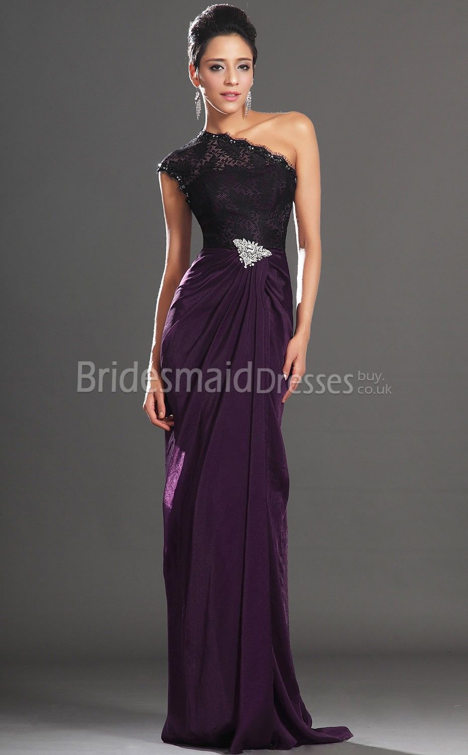 9baef5532fbc Sexy Grape Chiffon Trumpet Mermaid One Shoulder Floor-length Split Front Bridesmaid  Dresses(UKBD03-514) - BridesmaidDressesBuy.co.uk
