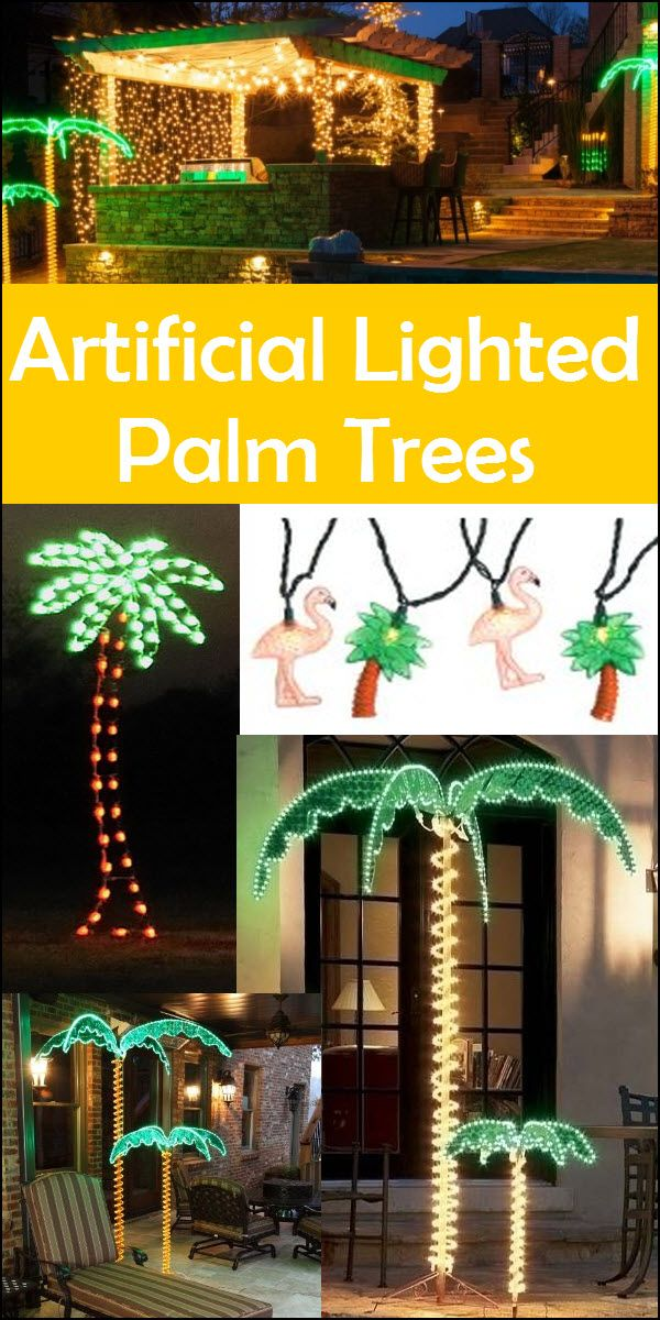 artificial lighted palm trees
