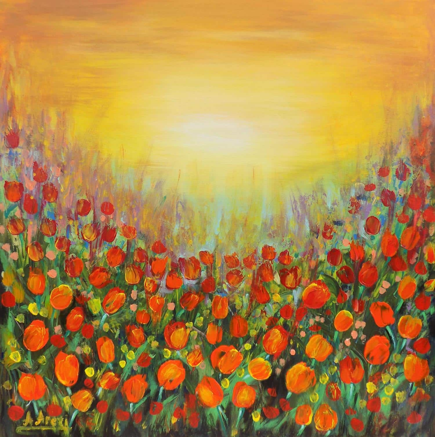 Meadow with tulips - This original painting is full of colour and is available on FineArtSeen. Click to view more art at great prices from the Home Of Original Art. << Pin For Later >>