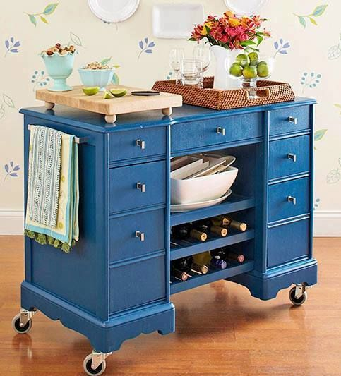 Kitchen Island Made From Antique Buffet: Rolling Kitchen Island, Repurposed Desk