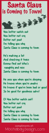Santa Claus Is Coming To Town Free Printable Christmas Holiday Song Lyrics Christmas Song Quotes Christmas Songs Lyrics Christmas Carols Lyrics