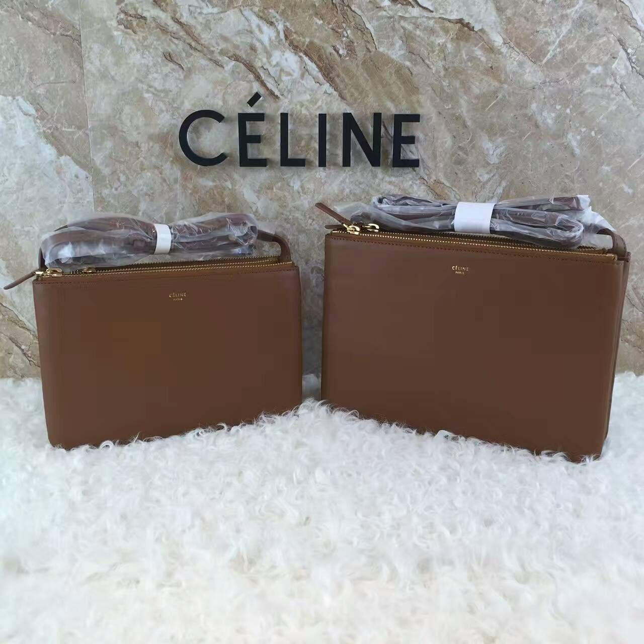 8814a86e8e6d Celine TRIO SHOULDER BAG IN BLACK GRAINED LAMBSKIN 15076(15077) size 22x4x15(25x4x17)cm  04400480C1 whatsapp +8615503787453