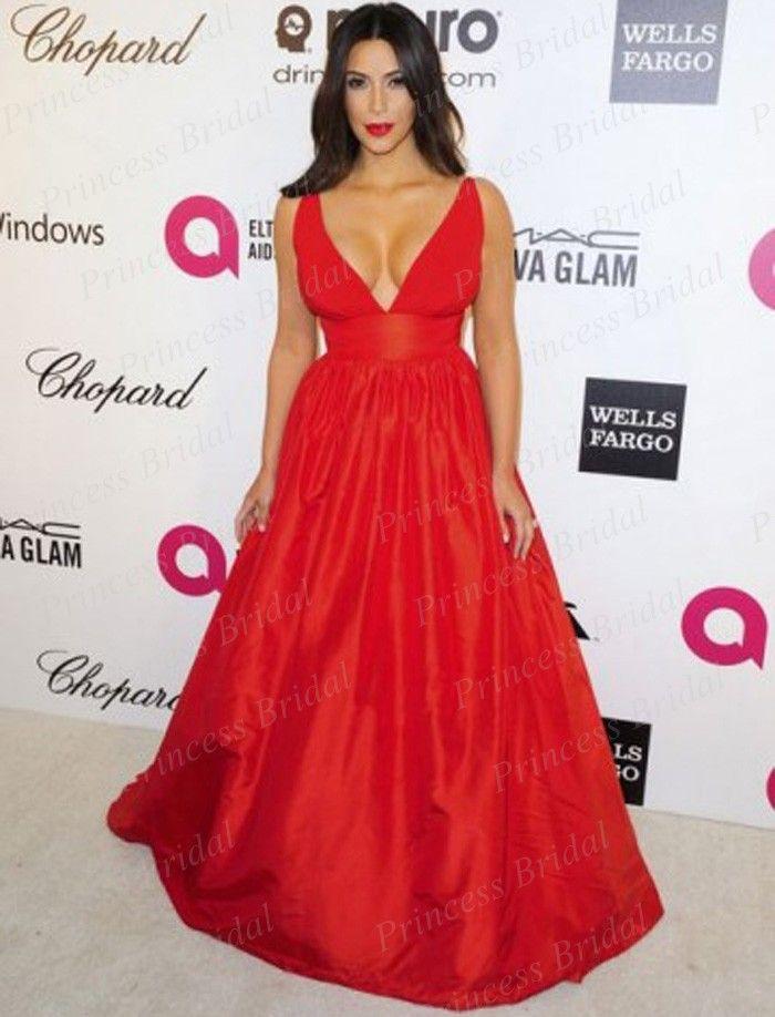 9a6ba85028 Free Shipping Sexy A Line Deep V Neck Big Bust Floor Length Long Red Carpet  Celebrity Dress Kim Kardashian MF131