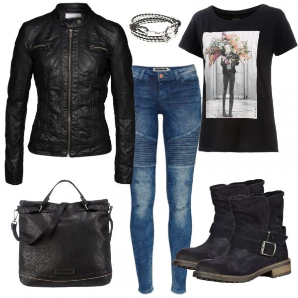 freizeit outfits rockig bei dieser rockiger look besteht aus einer lederjacke. Black Bedroom Furniture Sets. Home Design Ideas