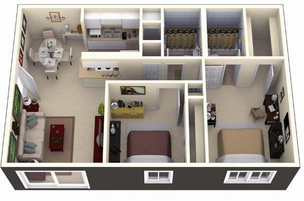 3d Small House Plans Under 1000 Sq Ft 2 Bedroom Planos De Casas Pequenas Design De Casas Pequenas Planta 3d De Casa