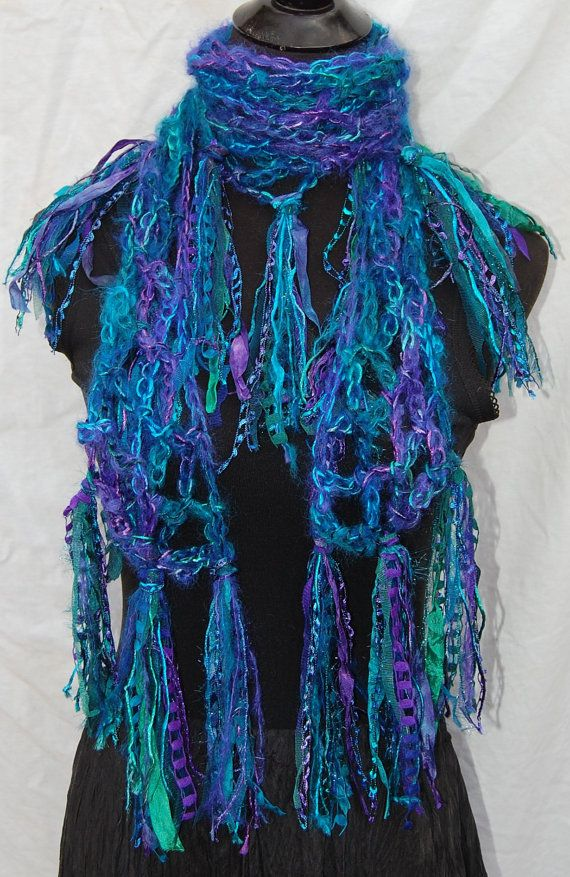 Purple & Turquoise Handmade Crochet Scarf by willieru on Etsy, $75.00