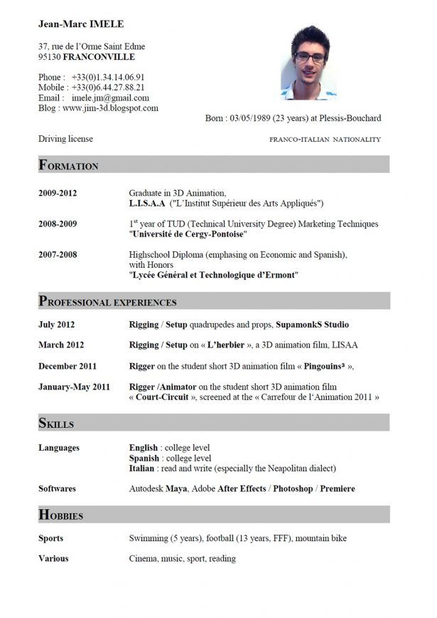 Resume Sample Writing Curriculum Vitae English Resume Format Print