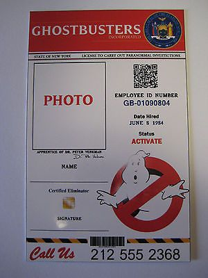 Ghostbusters   Plan   Id Card  We Will Add Your Name