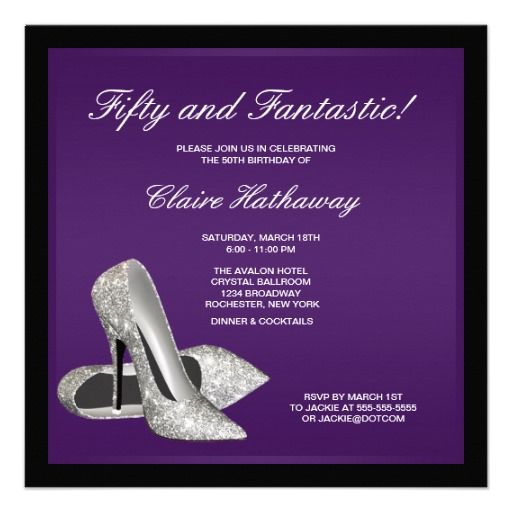 Purple Black High Heels Womans 50th Birthday Personalized Announcement Glitter Parties Party Centerpieces