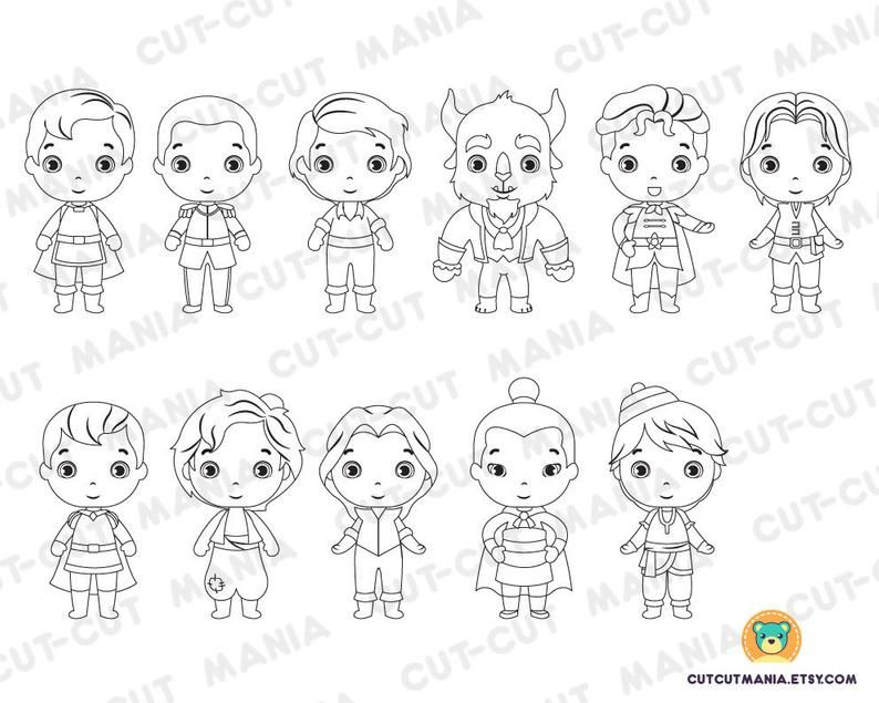 Princes For Coloring Princes Black And White Cliparts Etsy In 2021 Disney Princess Coloring Pages Coloring For Kids Coloring Pages