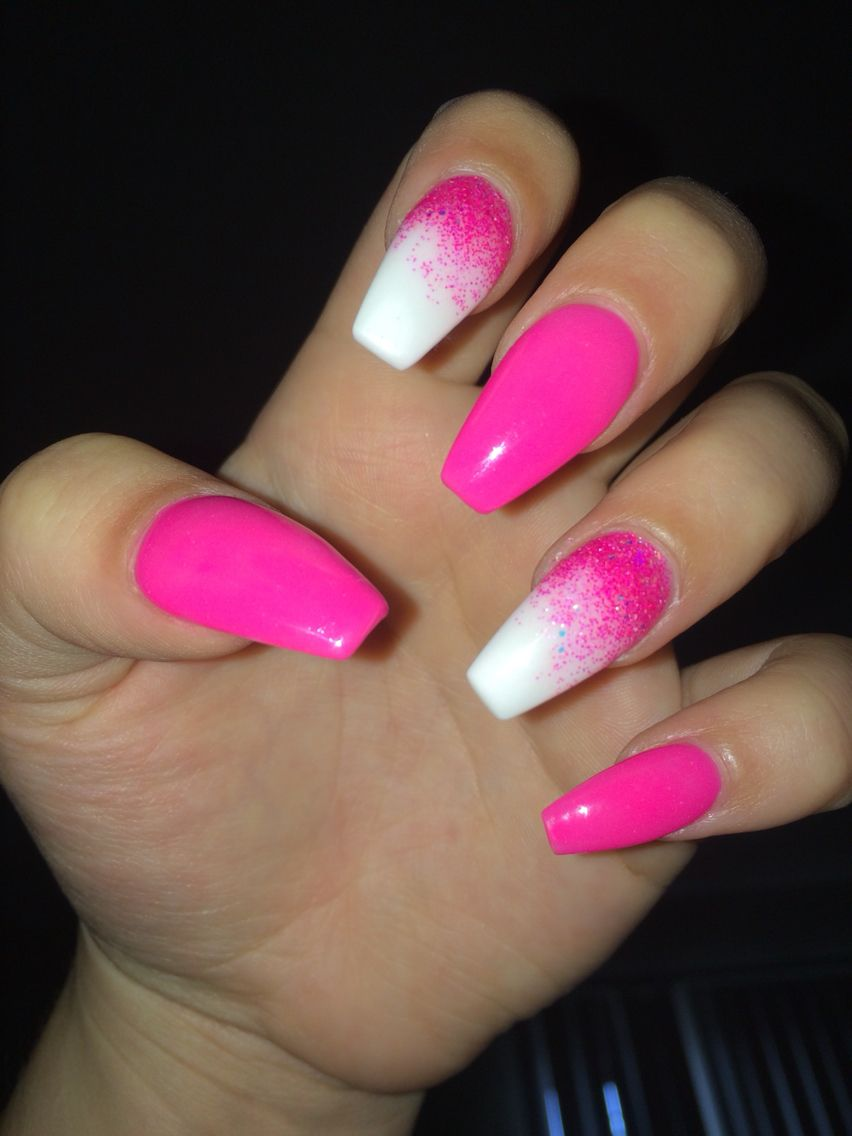 hot pink . ombr nails