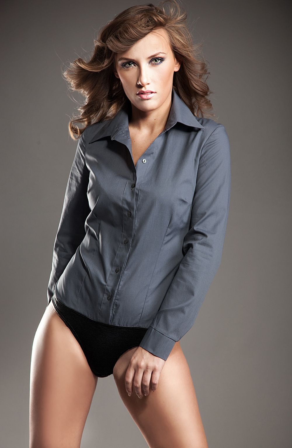 Collared Grey Shirt Bodysuit with Front Button Fastening ...