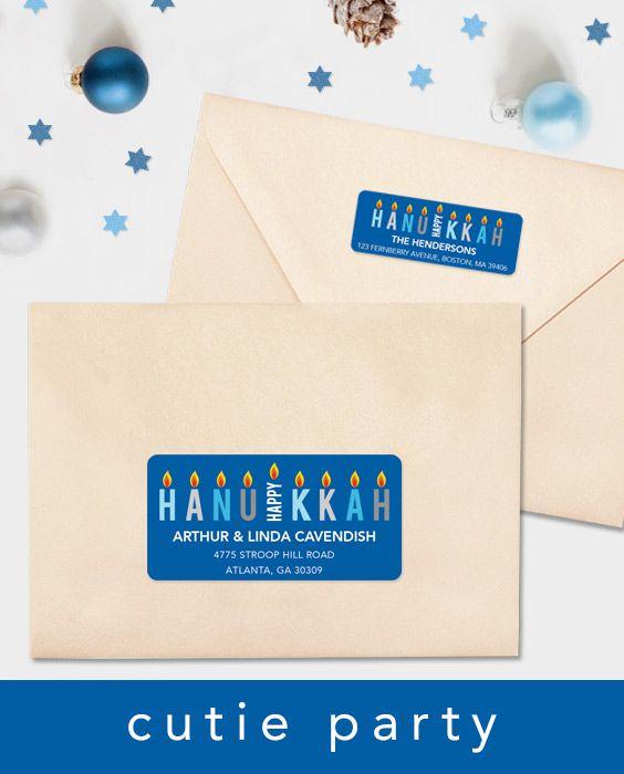 Hanukkah Address Label Template, Editable Address Label