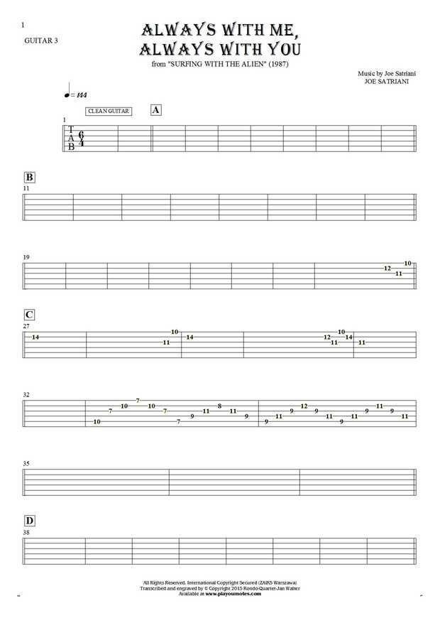 Always With Me Always With You Tablature For Guitar Guitar 3