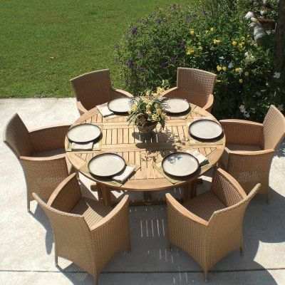 Outdoor Royal Teak 5 Ft Round Drop Leaf Helena Patio Dining Set Seats 6 P25bl
