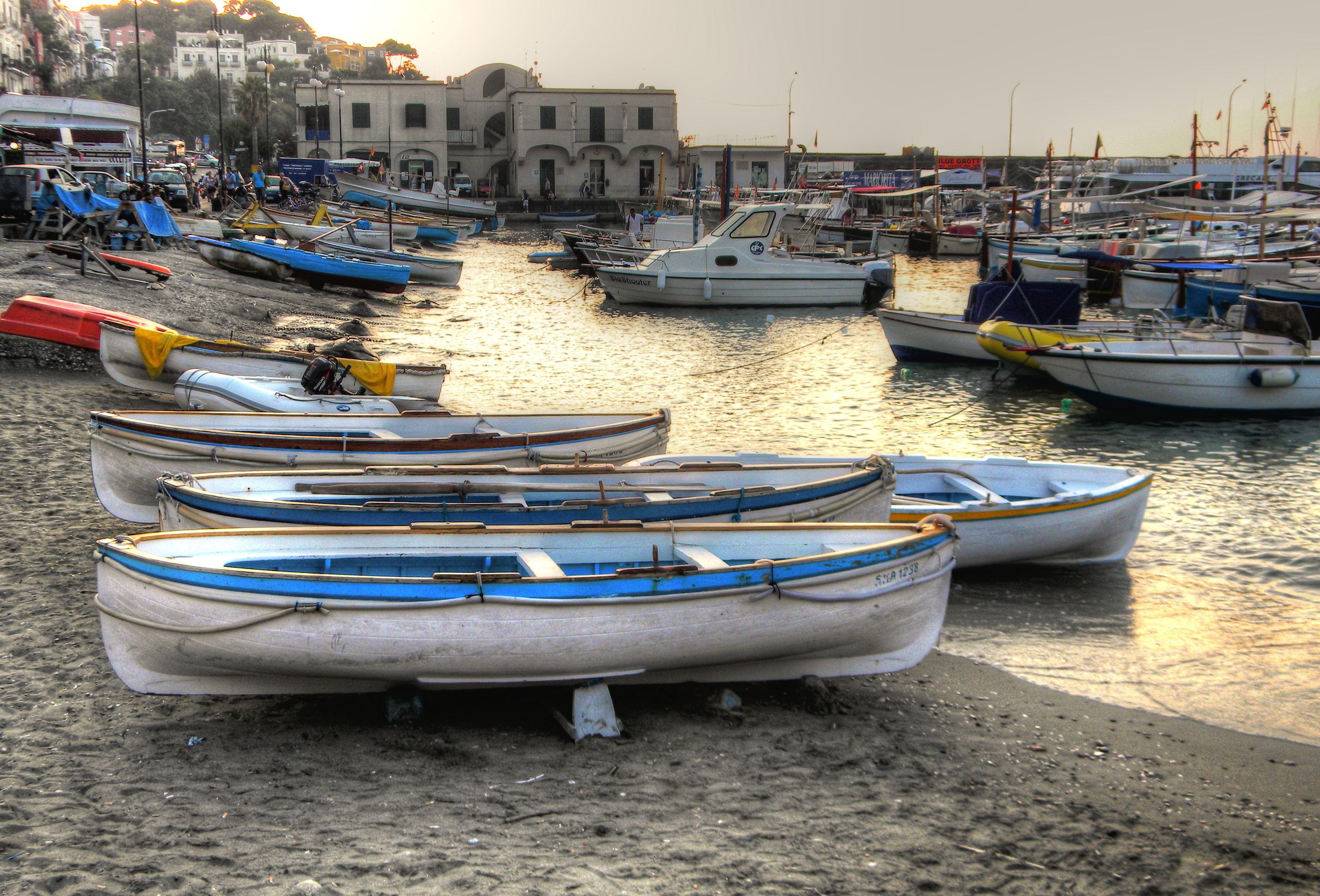 Boats near marina grande capri boat southern italy