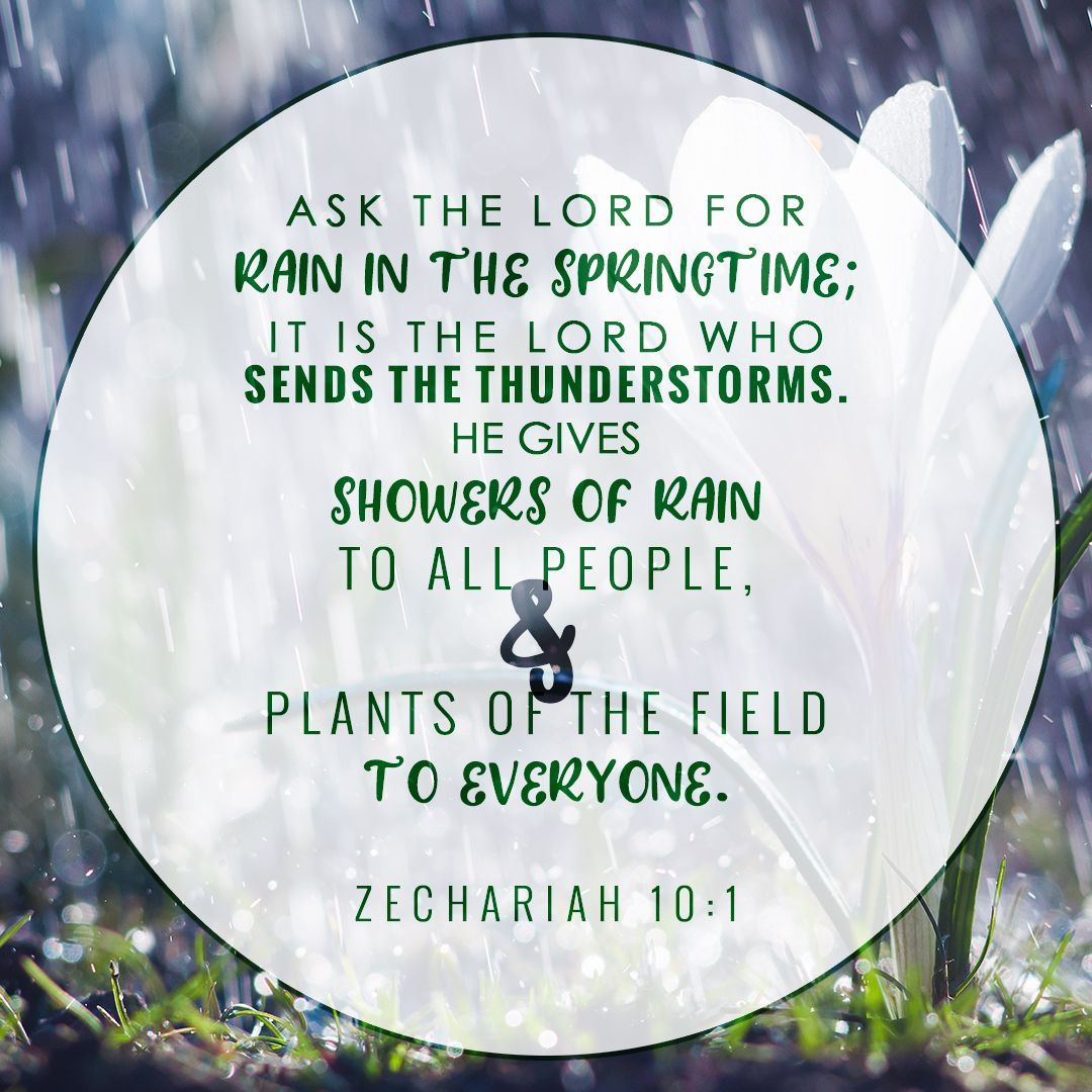 Ask the Lord for rain in the springtime; it is the Lord who sends the  thunderstorms. He gives showers of rain to all people and… | Thunderstorms,  Spring time, Life
