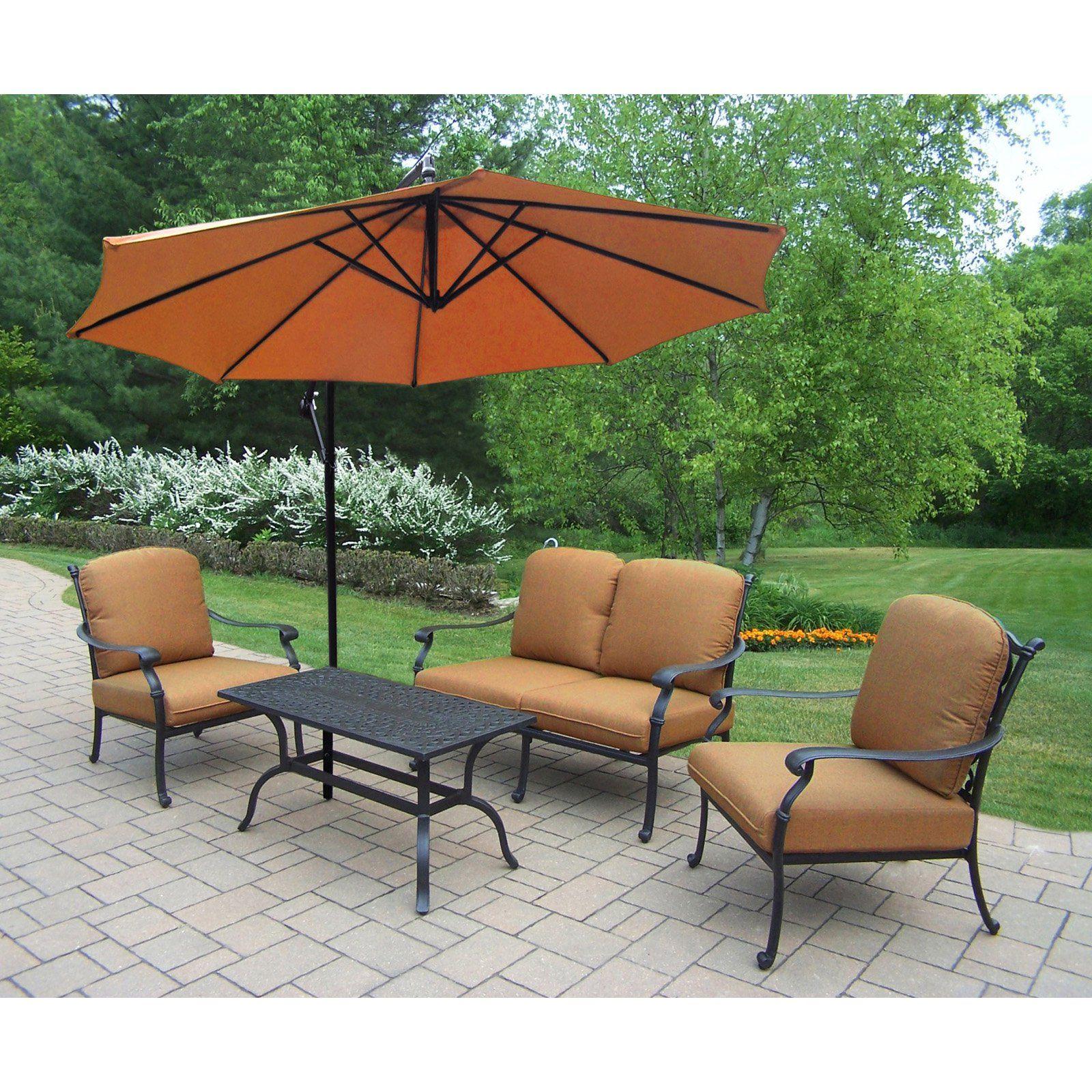 Sunbrella Patio Furniture Sets.Outdoor Oakland Living Hampton 4 Piece Chat Set With Sunbrella Patio