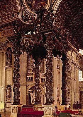 Le bernin baldaquin en bronze 1624 saint pierre de rome for L architecture baroque
