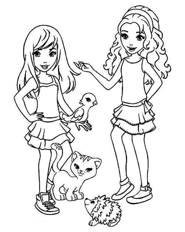 lego friends and animals coloring page  lego friends
