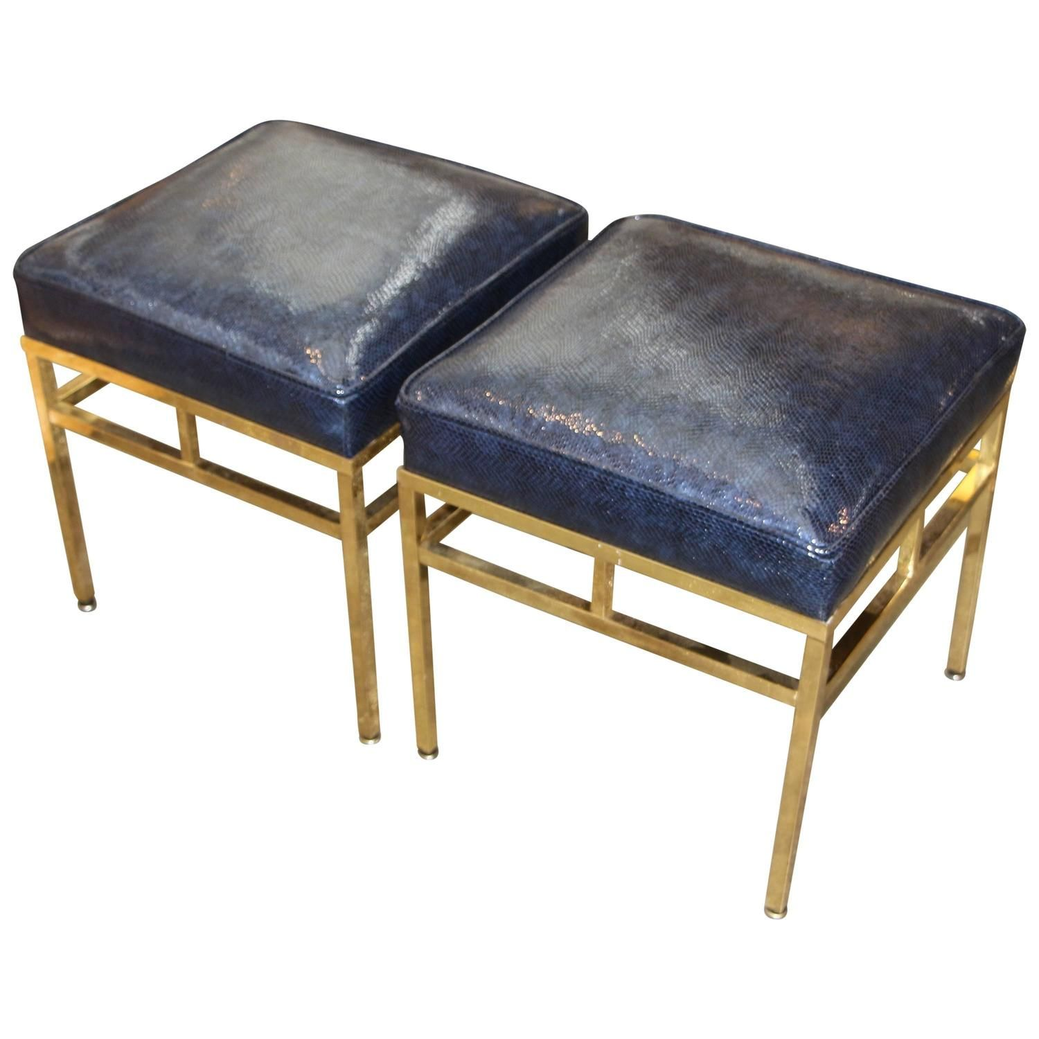 Faux Lizard or Snake Leather Topped Brass Ottomans | 1stdibs.com