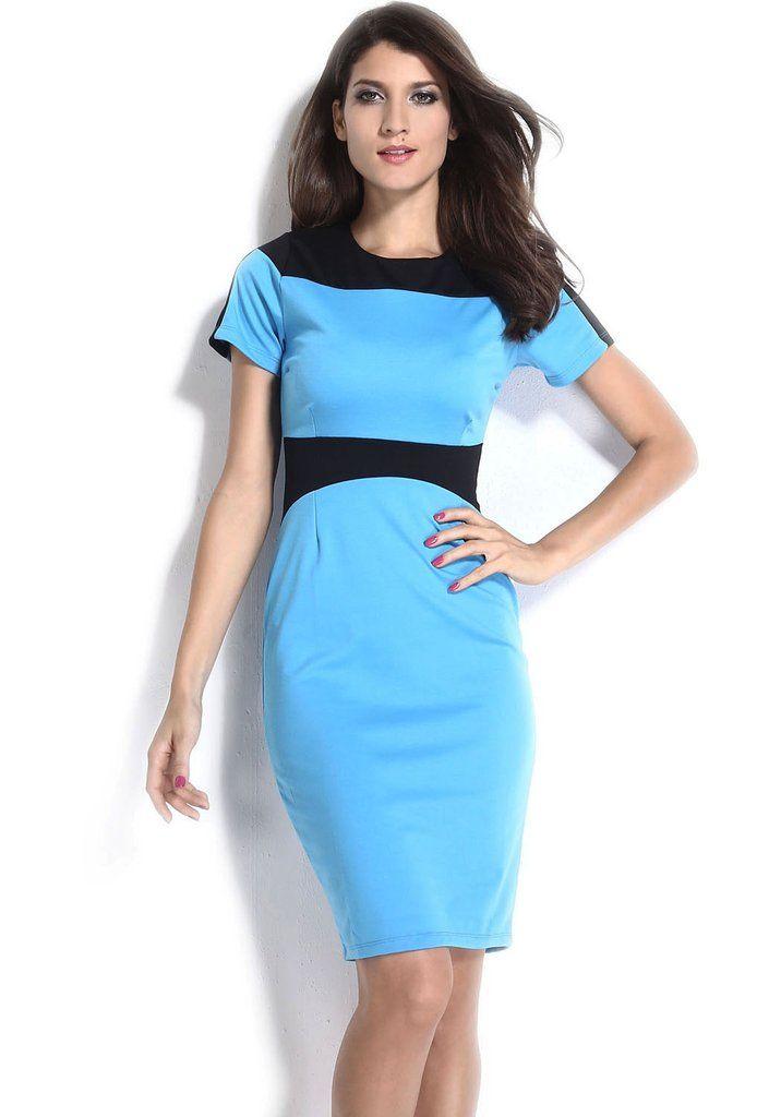 Robe noire et bleu turquoise