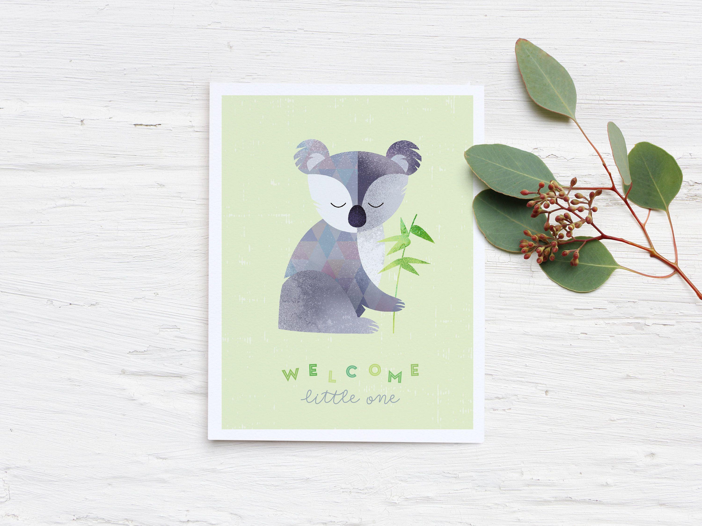 New Baby Card Koala Card Welcome Baby Card Illustrated Etsy Welcome Baby Cards New Baby Cards Cards Handmade