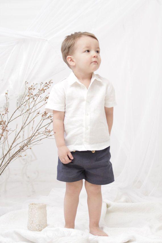 2e90298e Baby Boy christening shirt Baby boy white Linen shirt Baptism shirt ...