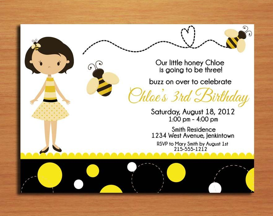 Bumble Bee Honey Birthday Party Invitation Cards PRINTABLE DIY 1500 Via Etsy