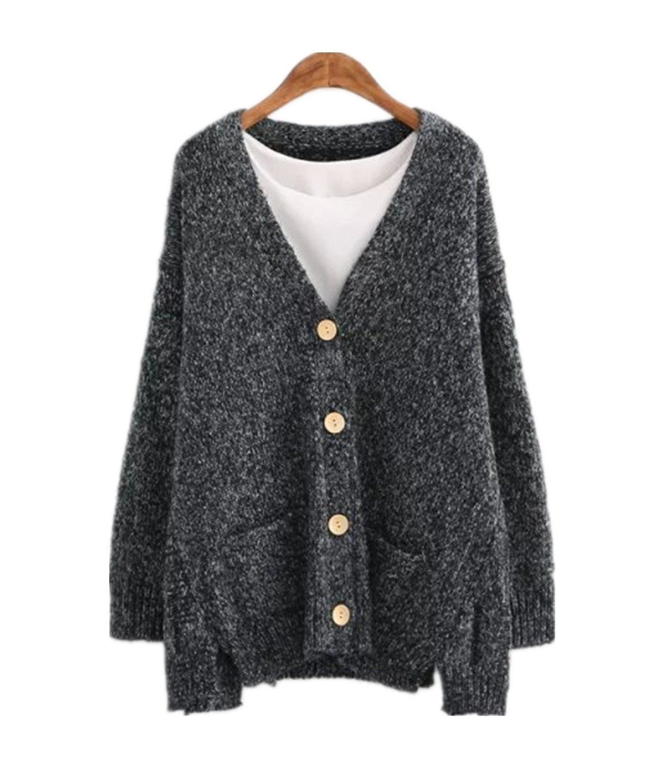 HEYFAIR Women's Loose Button Down Baggy Knitted Sweater Cardigan ...