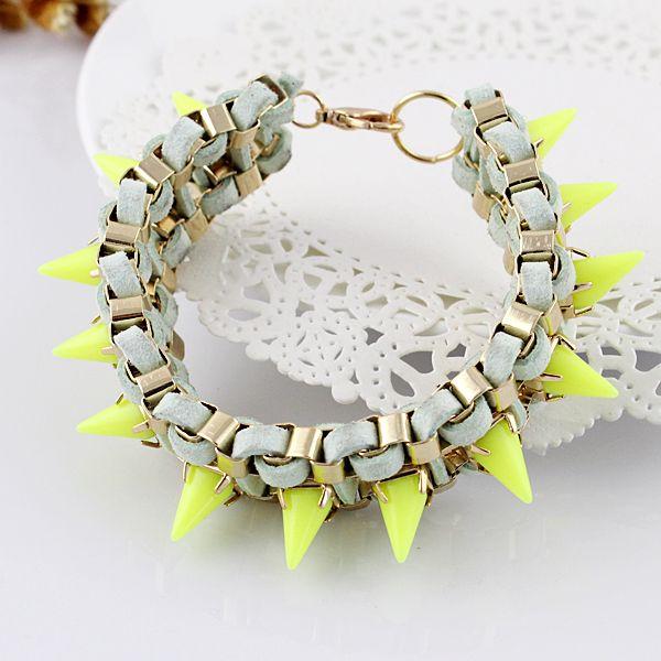 White Suede, Gold Chain, Neon Yellow Rivet Bracelet