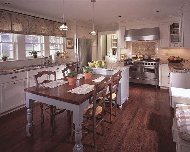 Peachtree Hills kitchen   Kitchen island with table ...