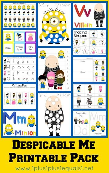 Free Despicable Me Printable Pack Minion Classroom Preschool Fun Preschool Activities